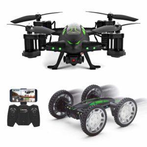 Drone RC avec camera 720P Voiture télécommande Air-Ground Flyingcar 360°Flips Quadcopter RC DroneCar avec FPV Lumière LED Radiocommande 2.4GHz 6-Axis Gyro équipé 2 batteries