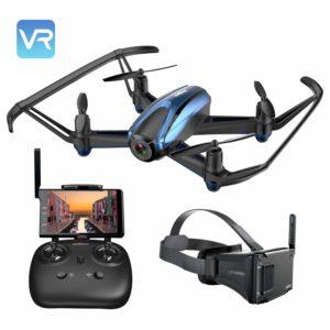 Potensic Drone avec Lunettes VR 3D, avec 5.8Ghz FPV LCD Moniteur d'écran de 5 pouces, Drone avec caméra HD, Alarme hors de portée, mode de maintien d'altitude, Fantastique 360 degrés Eversion