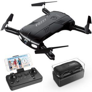 RC Quadcopter Drone avec 2.0 MP Live Caméra vidéo 2 piles Arms Pocket Mini Drone pliable pour les débutants 2.4 G 6 Axes de Headless Mode RTF Hélicoptère