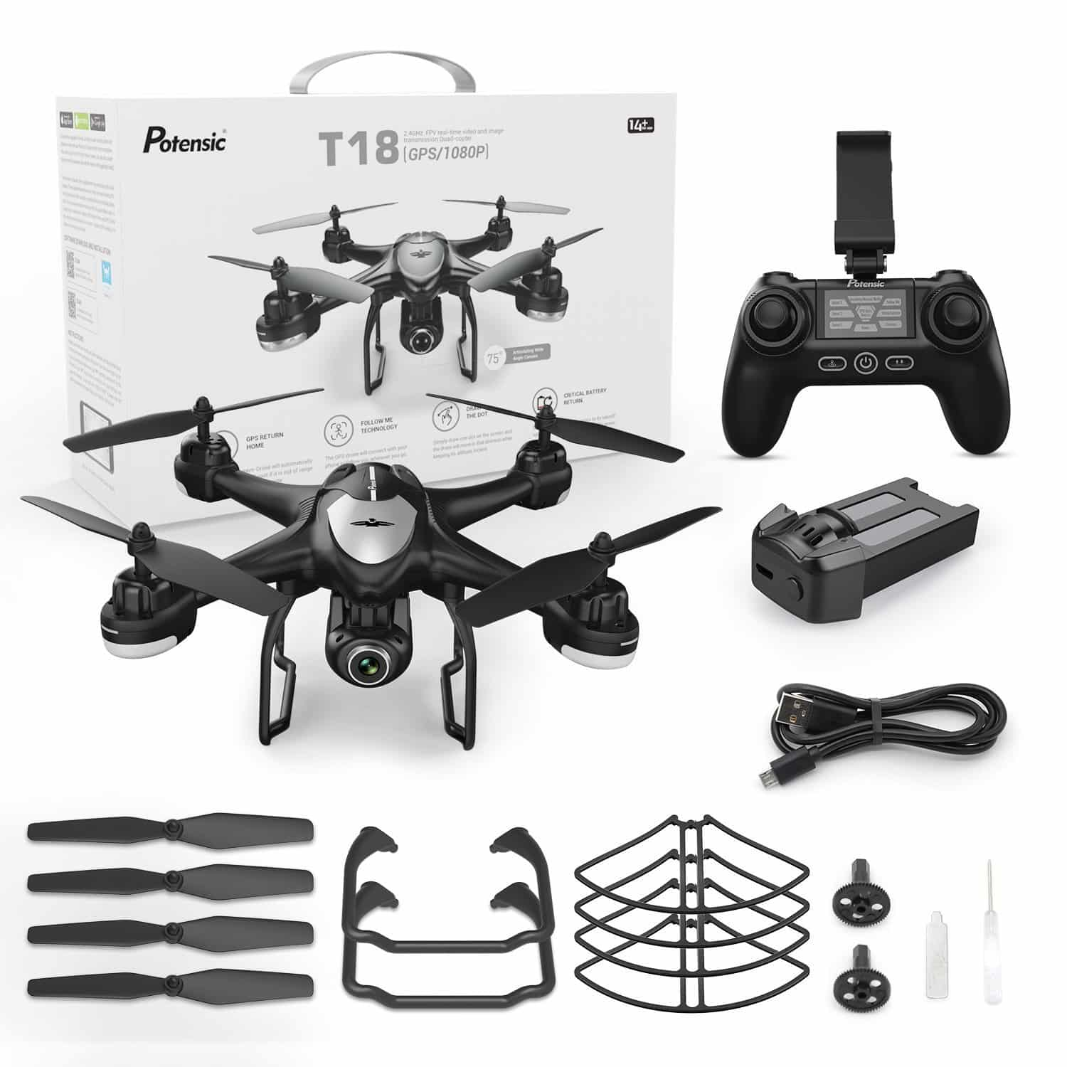 ☑Potensic T18 RC Drone with Camera …